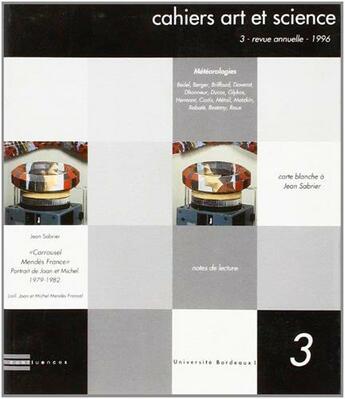 Couverture du livre « Cahiers Art Et Science 3 » de  aux éditions Confluences