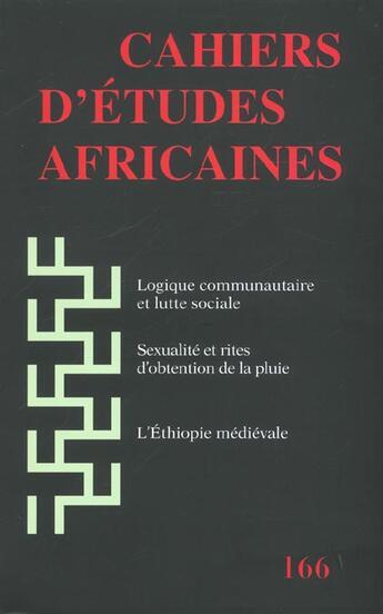 Couverture du livre « Cahiers d'études africaines T.166 » de Collectif aux éditions Ehess