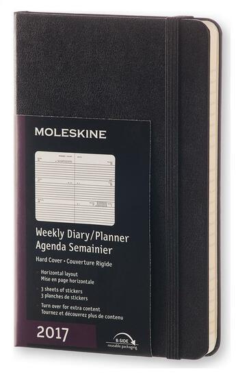 Couverture du livre « Agenda 2017 semainier horizontal poche rigide noir » de Collectif aux éditions Moleskine