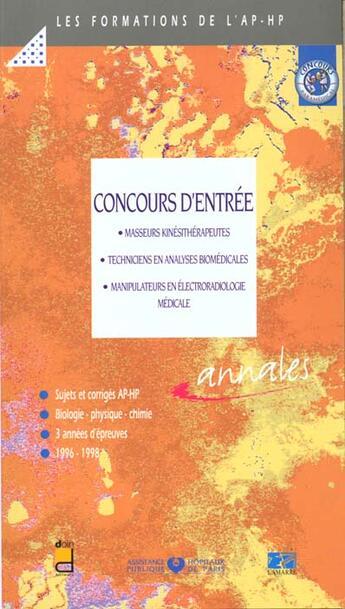 Couverture du livre « Concours d entree masseurs kinesitherapeutes techniciens en analyses biomedicale » de Douin aux éditions Doin