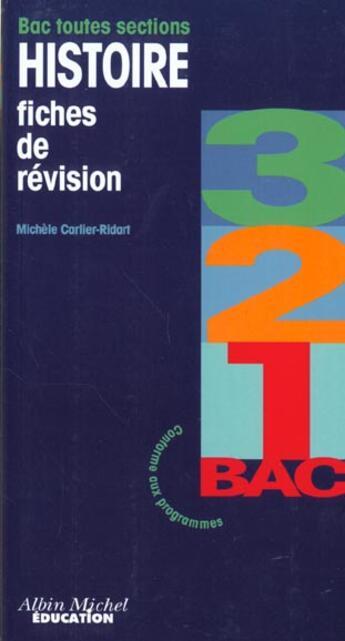 Couverture du livre « 3 2 1 Bac Histoire » de Cartier/Collectif aux éditions Albin Michel Education