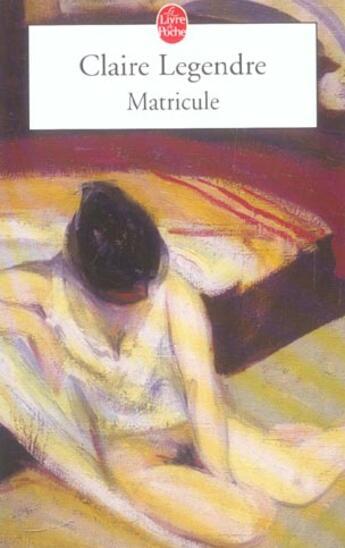 Couverture du livre « Matricule » de Legendre-C aux éditions Lgf