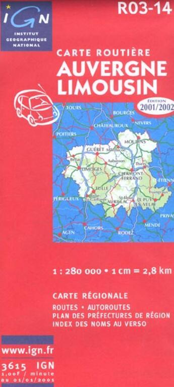 Couverture du livre « Auvergne Limousin » de Collectif Ign aux éditions Ign