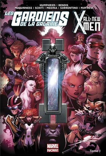 Couverture du livre « All new X-Men/les Gardiens de la Galaxie T.1 ; le vortex noir t.1 » de Sam Humphries et Valerio Schiti et Andrea Sorrentino et Ed Mcguinness et Brian Michael Bendis aux éditions Panini