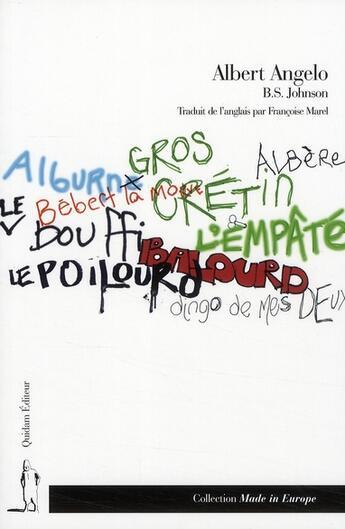 Couverture du livre « Alberto Angelo » de B.S. Johnson aux éditions Quidam