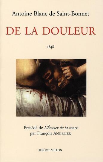 Couverture du livre « De la douleur » de Saint-Bonnet (De)/An aux éditions Millon