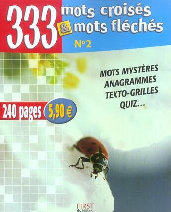 Couverture du livre « 333 Mots Croises Et Fleches N.2 » de Vincent Flajac aux éditions First