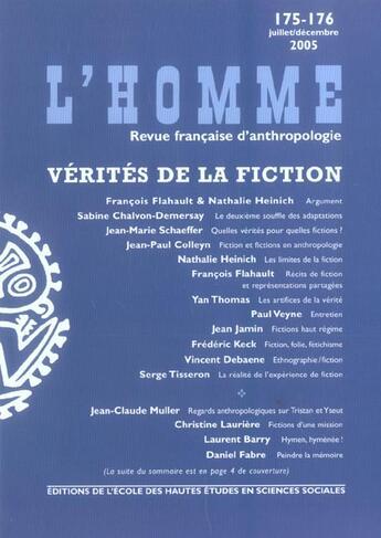 Couverture du livre « Revue L'Homme N.175 ; 176 ; Vérités De La Fiction » de Revue L'Homme aux éditions Revue L'homme