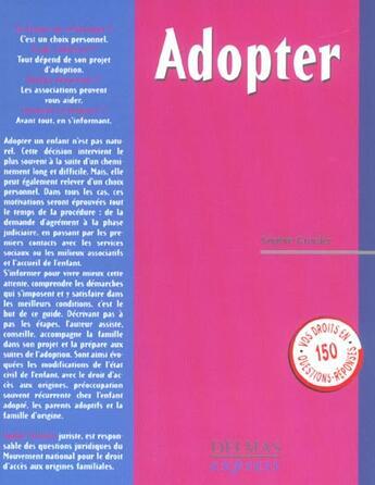Couverture du livre « Adopter 1re Ed » de Grenier-S aux éditions Delmas
