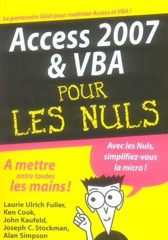 Couverture du livre « Access 2007 et VBA pour les nuls » de Laurie Ulrich Fuller aux éditions First Interactive