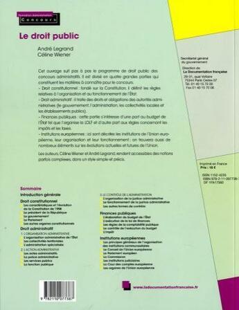 Couverture du livre « Le droit public (3e édition) » de Andre Legrand et Celine Wiener aux éditions Documentation Francaise