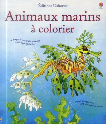 Couverture du livre « Animaux marins à colorier » de Susan Meredith aux éditions Usborne