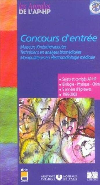 Couverture du livre « Concours d entree masseurs-kinesitherapeutes techniciens en analyses biomedicale » de Aphp aux éditions Lamarre