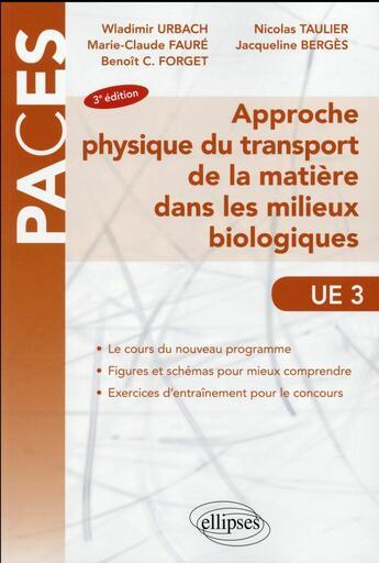 Couverture du livre « Approche Physique Du Transport De La Matiere Dans Les Milieux Biologiques Ue3 3e Edition » de Urbach Faure Forget aux éditions Ellipses Marketing
