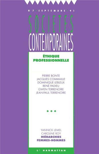 Couverture du livre « Ethique Professionnelle » de Societes Contemporai aux éditions L'harmattan