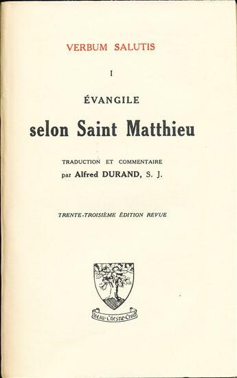 Couverture du livre « Évangile selon saint Matthieu » de Alfred Durand aux éditions Beauchesne