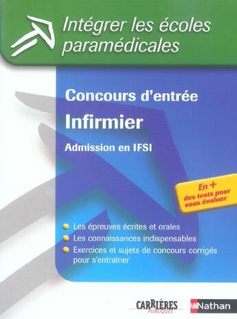 Couverture du livre « Concours d'entree infirmier n13 - 2005 (édition 2005) » de Godrie/Guyot/Jeanne aux éditions Nathan
