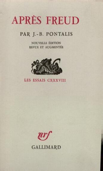 Couverture du livre « Après Freud » de J.-B. Pontalis aux éditions Gallimard
