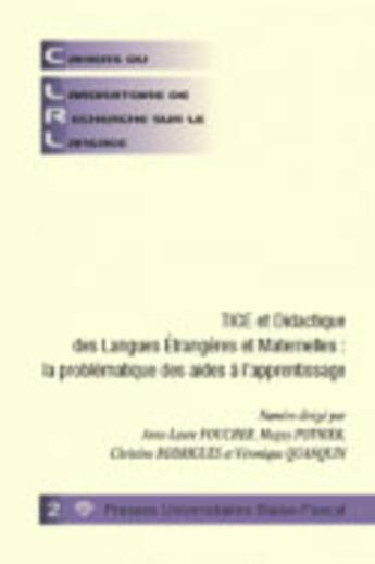 Couverture du livre « Cahiers du laboratoire de recherche sur le langage ; didactique des langues » de Foucher Anne-Laure aux éditions Pu De Clermont Ferrand