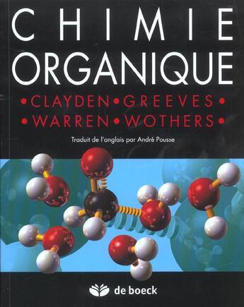 Couverture du livre « Chimie organique » de Clayden Jonathan aux éditions De Boeck Superieur