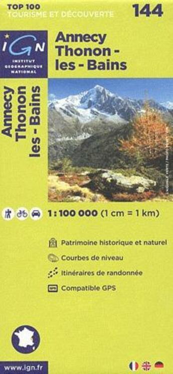 Couverture du livre « Aed annecy/thonon-les-bains 1/100.000 » de Collectif Ign aux éditions Ign