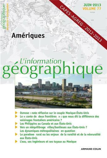Couverture du livre « Amériques » de Collectif aux éditions Armand Colin