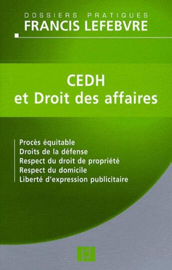 Couverture du livre « Affaires Et Cedh » de Redaction Efl aux éditions Lefebvre