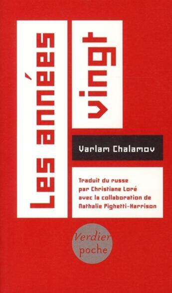 Couverture du livre « Les années vingt » de Varlam Chalamov aux éditions Verdier