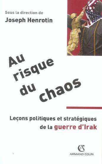 Couverture du livre « Au Risque Du Chaos » de Henrotin aux éditions Armand Colin