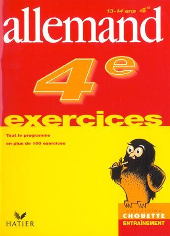 Couverture du livre « Chouette Entrainement ; Allemand ; 4ème ; Exercices » de Francoise Munoz aux éditions Hatier