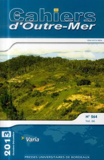 Couverture du livre « Cahiers d outre mer 264 » de Collectif aux éditions Pu De Bordeaux