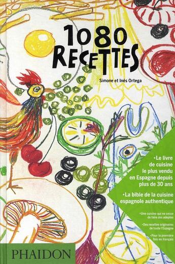 Couverture du livre « 1080 recettes » de Simone Ortega et Ines Ortega aux éditions Phaidon