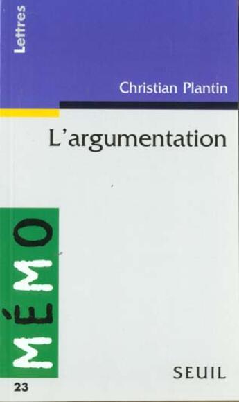 Couverture du livre « L'Argumentation » de Christian Plantin aux éditions Points