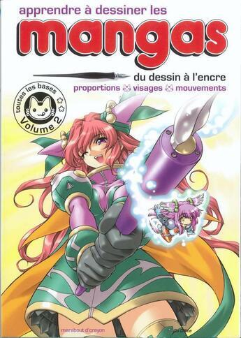 Couverture du livre « Apprendre à dessiner les mangas t.2 ; du dessin à l'encre ; proportions, visages, mouvements » de Collectif aux éditions Marabout