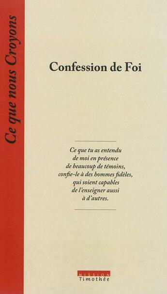 Couverture du livre « Confession de foi » de Collectif aux éditions Cocebal