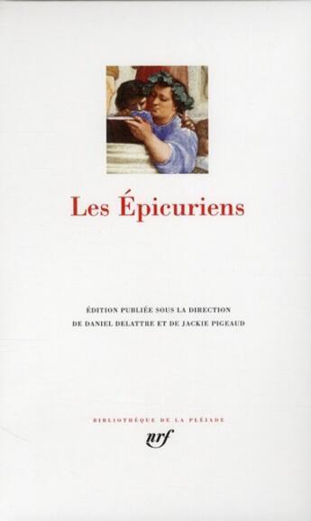 Couverture du livre « Les épicuriens » de Collectif aux éditions Gallimard