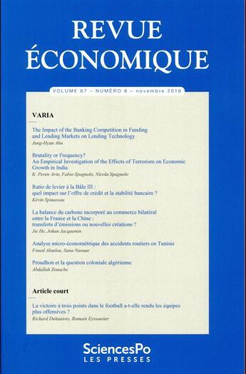 Couverture du livre « 6 » de Revue Economique aux éditions Presses De Sciences Po