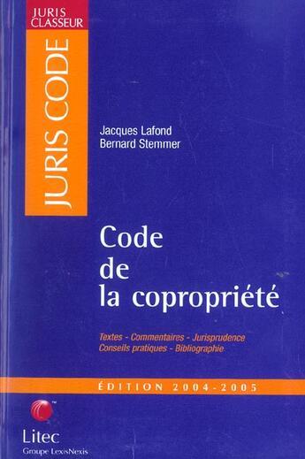 Couverture du livre « Code De La Copropriete 2003 » de Lafond aux éditions Lexisnexis