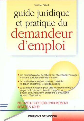 Couverture du livre « Guide du chercheur d'emploi ; edition 2000 » de Vincent Allard aux éditions De Vecchi