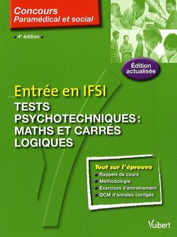Couverture du livre « Concours entrée IFSI tests psycho d'aptitude numérique t.20 » de Claude Miniere aux éditions Vuibert