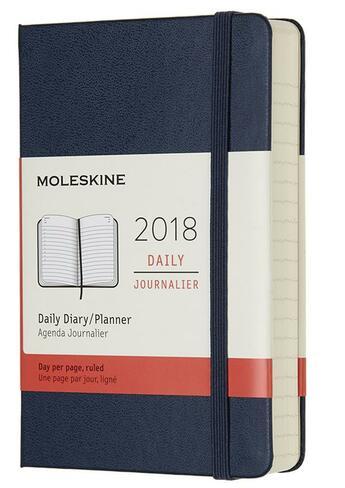 Couverture du livre « Agenda 2018 journalier poche rigide bleu saphir » de Collectif aux éditions Moleskine