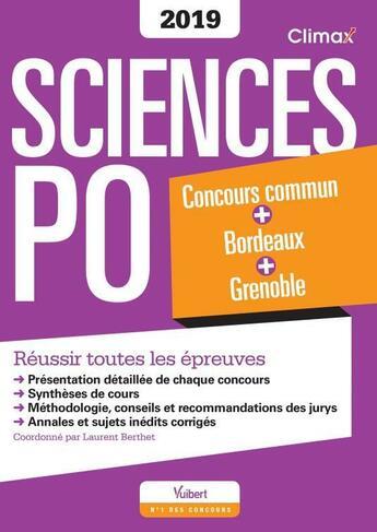 Couverture du livre « Sciences Po ; concours commun Bordeaux et Grenoble (concours 2019) » de Collectif aux éditions Vuibert
