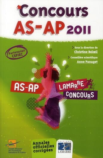 Couverture du livre « Concours AS-AP (édition 2011) » de C. Cefiec et Beloei aux éditions Lamarre