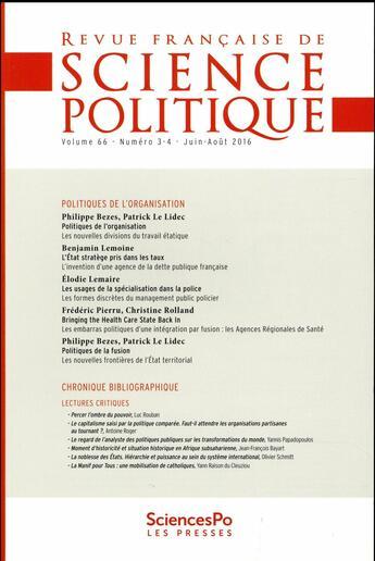 Couverture du livre « 2 ; varia » de Revue Francaise De Science Politique aux éditions Presses De Sciences Po