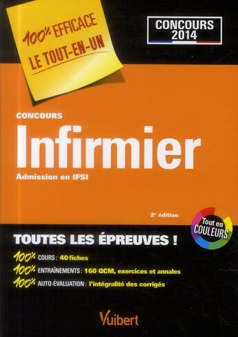 Couverture du livre « Concours infirmier ; admission en IFSI tout en un 2013-2014 (2e édition) » de Collectif aux éditions Vuibert