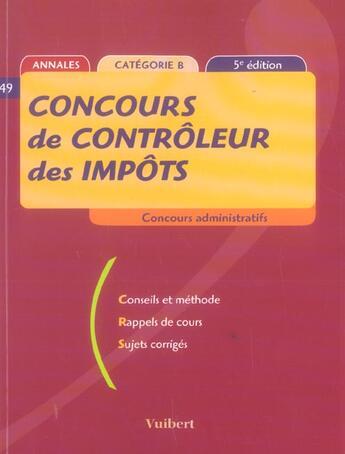 Couverture du livre « Concours De Controleur Des Impots (5e Edition) » de Collectif aux éditions Vuibert