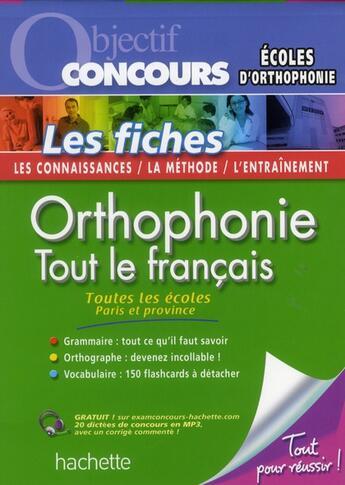 Couverture du livre « Concours orthophoniste ; fiches » de P Perrine aux éditions Hachette Education