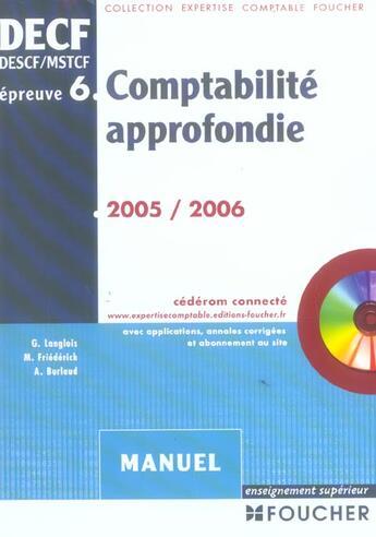 Couverture du livre « Comptabilite Approfondie ; Epreuve N.6 » de G Langlois aux éditions Foucher