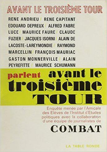Couverture du livre « Avant Le Troisieme Tour » de Collectifs Table Ron aux éditions Table Ronde