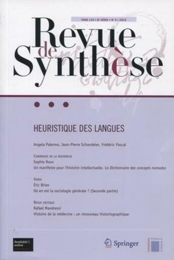 Couverture du livre « Revue De Synthese T.133 ; 6e Série T.3 ; Heuristique Des Langues » de Collectif aux éditions Springer